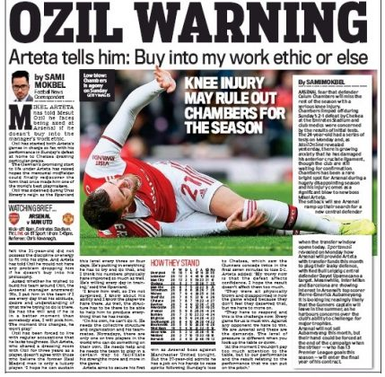OZIL WARNING Daily Mail 1 January 2020