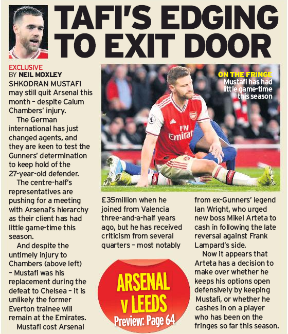 TAFI'S EDGING TO EXIT DOOR - Sunday Mirror 5 January 2020