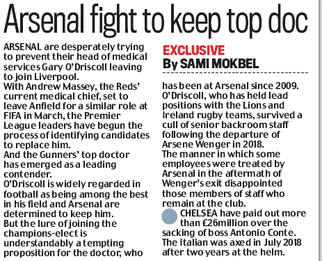 Arsenal fight to keep top doc - Daily Mail, Wednesday 8 January 2020