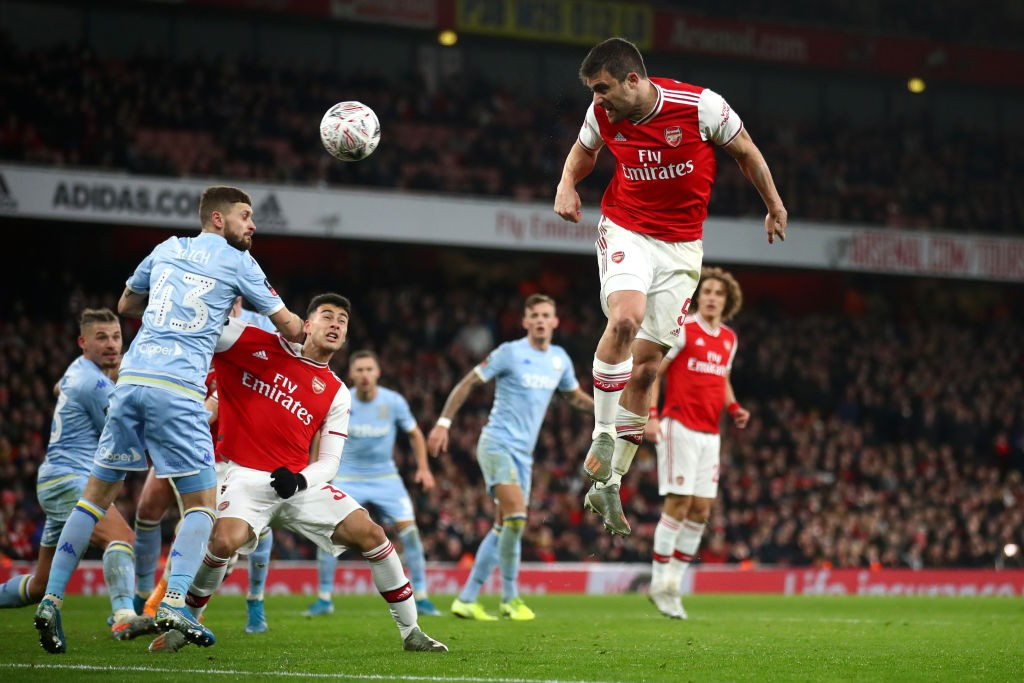 LONDON, ENGLAND - JANUARY 06: Sokratis Papastathopoulos of Arsenal heads towards goal during the FA Cup Third Round match between Arsenal FC and Leeds United at the Emirates Stadium on January 06, 2020, in London, England. (Photo by Julian Finney/Getty Images)