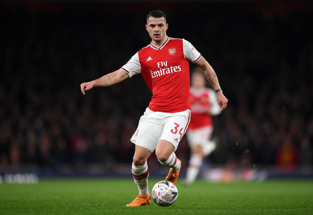 LONDON, ENGLAND - JANUARY 06: Granit Xhaka of Arsenal controls the ball during the FA Cup Third Round match between Arsenal FC and Leeds United at the Emirates Stadium on January 06, 2020, in London, England. (Photo by Shaun Botterill/Getty Images)