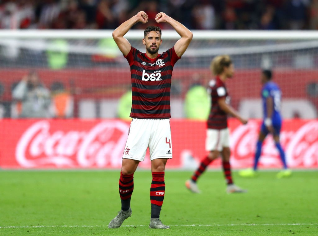 DOHA, QATAR - DECEMBER 17: Pablo Mari of CR Flamengo celebrates victory after the FIFA Club World Cup semi-final match between CR Flamengo and Al Hilal FC at Khalifa International Stadium on December 17, 2019, in Doha, Qatar. (Photo by Francois Nel/Getty Images)