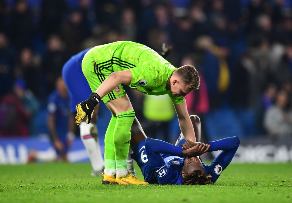 LONDON, ENGLAND - JANUARY 21: Bernd Leno of Arsenal checks on Tammy Abraham of Chelsea after the Premier League match between Chelsea FC and Arsenal FC at Stamford Bridge on January 21, 2020, in London, United Kingdom. (Photo by Shaun Botterill/Getty Images)