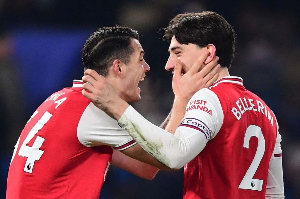LONDON, ENGLAND - JANUARY 21: Granit Xhaka and Hector Bellerin of Arsenal react after the Premier League match between Chelsea FC and Arsenal FC at Stamford Bridge on January 21, 2020, in London, United Kingdom. (Photo by Shaun Botterill/Getty Images)