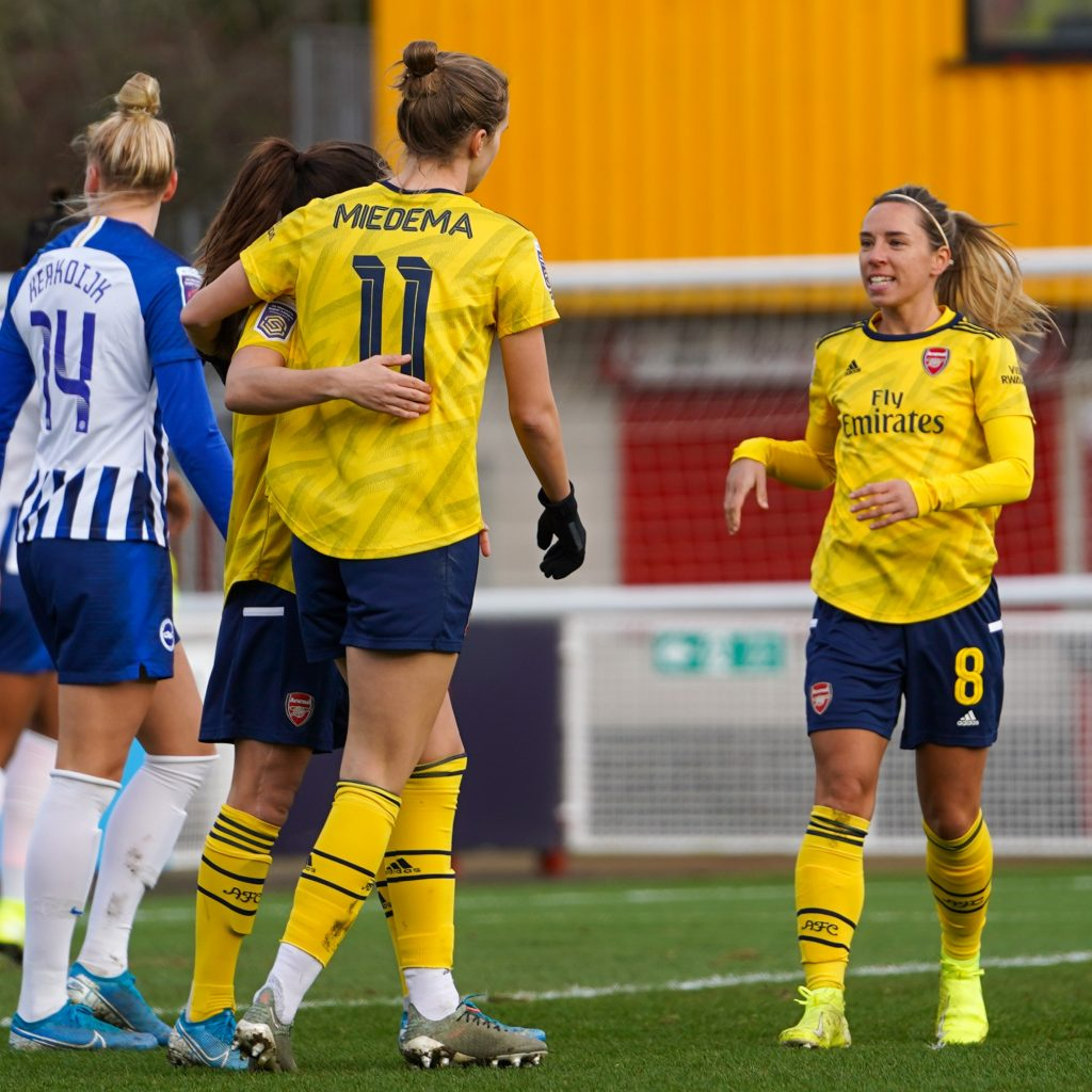 Vivianne Miedema, Danielle Van de Donk and Jordan Nobbs for Arsenal Women vs Brighton (Photo via Twitter / ArsenalWFC)