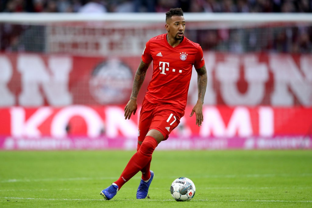 MUNICH, GERMANY - DECEMBER 14: Jerome Boateng of FC Bayern Muenchen runs with the ball during the Bundesliga match between FC Bayern Muenchen and SV Werder Bremen at Allianz Arena on December 14, 2019, in Munich, Germany. (Photo by Alexander Hassenstein/Bongarts/Getty Images)