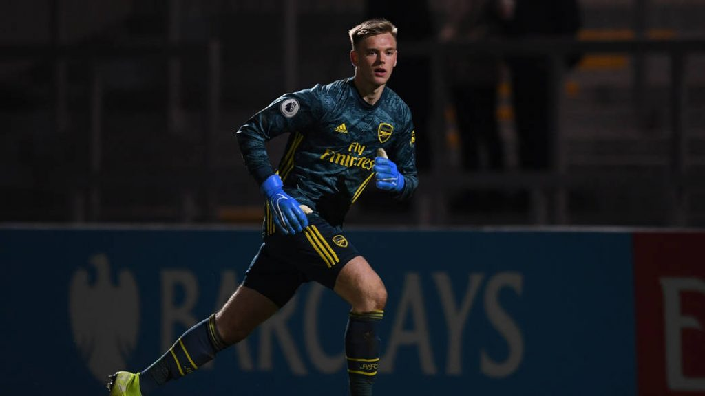 BOREHAMWOOD, ENGLAND - JANUARY 03: Karl Hein of Arsenal during the Premier League 2 game between Arsenal FC and Derby County at Meadow Park on January 03, 2020 in Borehamwood, England. (Photo by David Price/Arsenal FC via Getty Images)