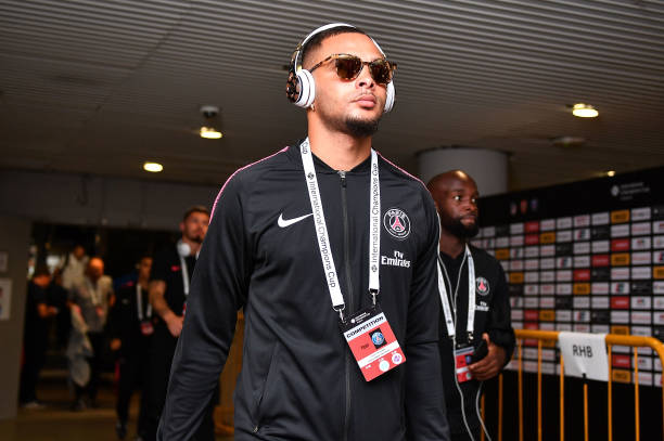 SINGAPORE - JULY 28: Layvin Kurzawa #20 of Paris Saint Germain walks during the International Champions Cup match between Arsenal and Paris Saint Germain at the National Stadium on July 28, 2018 in Singapore.  (Photo by Thananuwat Srirasant/Getty Images  for ICC)