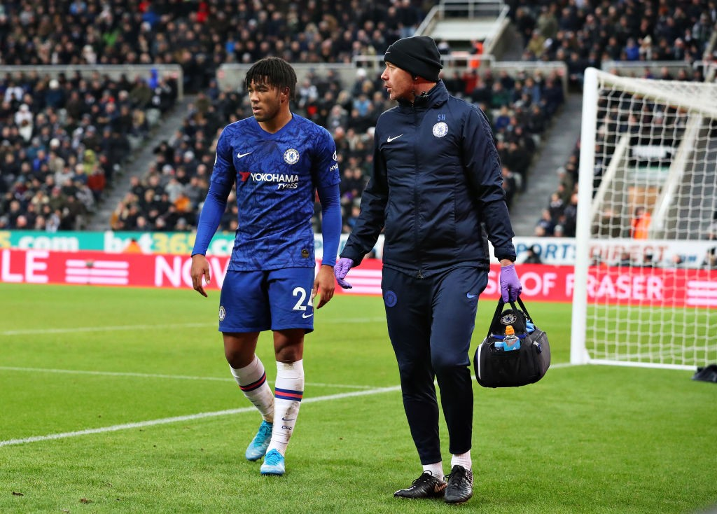 NEWCASTLE UPON TYNE, ENGLAND - JANUARY 18: Reece James of Chelsea is removed from the action after getting injured during the Premier League match between Newcastle United and Chelsea FC at St. James Park on January 18, 2020, in Newcastle upon Tyne, United Kingdom. (Photo by Alex Livesey/Getty Images)