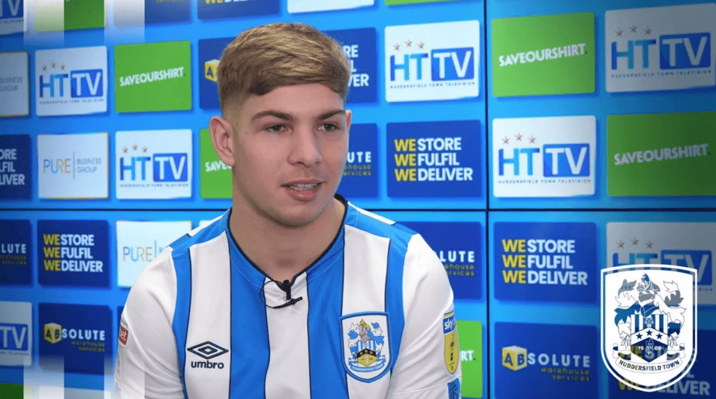 Emile Smith Rowe during his first Huddersfield interview (Photo via HTAFC.com)