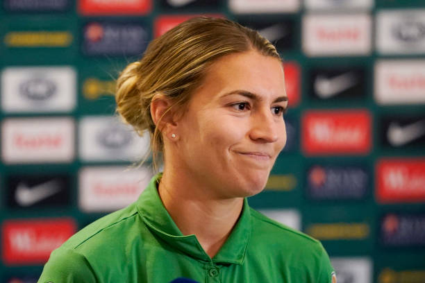 SYDNEY, AUSTRALIA - JANUARY 21: Stephanie Catley speaks to the media during an Australia Matildas media opportunity at the Intercontinental Double Bay on January 21, 2020 in Sydney, Australia. (Photo by Mark Evans/Getty Images)