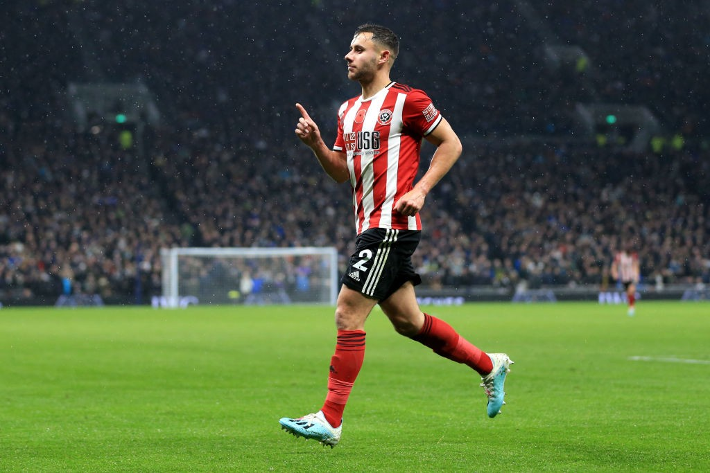 LONDON, ENGLAND - NOVEMBER 09: George Baldock of Sheffield United celebrates after scoring his team's first goal during the Premier League match between Tottenham Hotspur and Sheffield United at Tottenham Hotspur Stadium on November 09, 2019, in London, United Kingdom. (Photo by Stephen Pond/Getty Images)