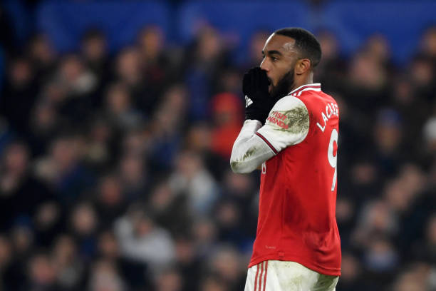 LONDON, ENGLAND - JANUARY 21: Alexandre Lacazette of Arsenal reacts after his goal his ruled as offside during the Premier League match between Chelsea FC and Arsenal FC at Stamford Bridge on January 21, 2020 in London, United Kingdom. (Photo by Mike Hewitt/Getty Images)