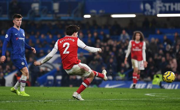 Arsenal's Spanish defender Hector Bellerin scores his team's second goal during the English Premier League football match between Chelsea and Arsenal at Stamford Bridge in London on January 21, 2020. (Photo by DANIEL LEAL-OLIVAS / AFP)