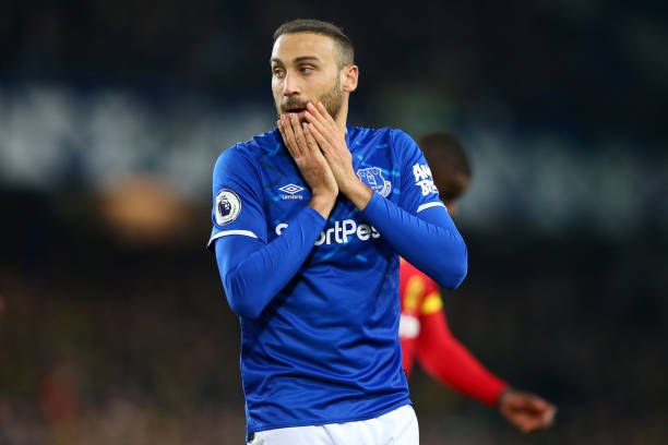 LIVERPOOL, ENGLAND - NOVEMBER 23: Cenk Tosun of Everton reacts during the Premier League match between Everton FC and Norwich City at Goodison Park on November 23, 2019 in Liverpool, United Kingdom. (Photo by Alex Livesey/Getty Images)