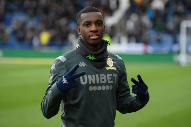 HUDDERSFIELD, ENGLAND - DECEMBER 07: Eddie Nketiah of Leeds United reacts ahead of the Sky Bet Championship match between Huddersfield Town and Leeds United at John Smith's Stadium on December 07, 2019 in Huddersfield, England. (Photo by George Wood/Getty Images)