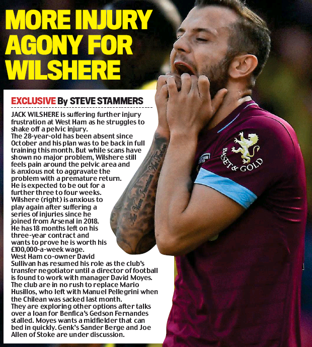More agony for Wilshere - Daily Mail 8 January 2020