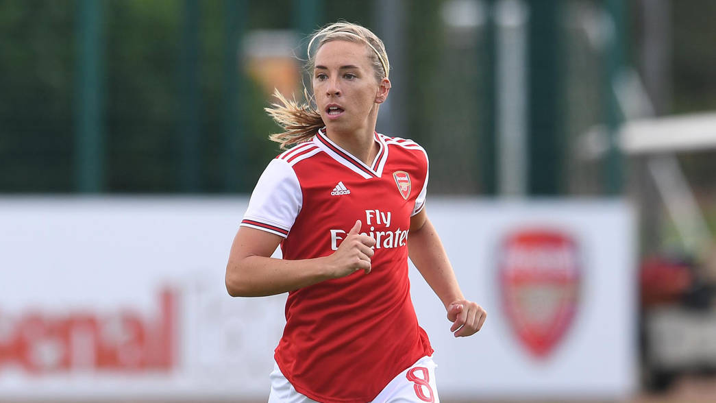 ST ALBANS, ENGLAND - AUGUST 18: Jordan Nobbs of Arsenal during the match between Arsenal and West Ham United at London Colney on August 18, 2019 in St Albans, England. (Photo by David Price/Arsenal FC via Getty Images)