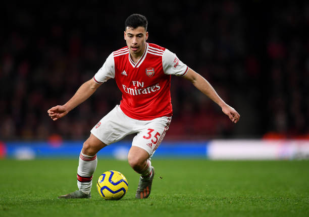 LONDON, ENGLAND - JANUARY 18: Gabriel Martinelli of Arsenal in action during the Premier League match between Arsenal FC and Sheffield United at Emirates Stadium on January 18, 2020 in London, United Kingdom. (Photo by Clive Mason/Getty Images)
