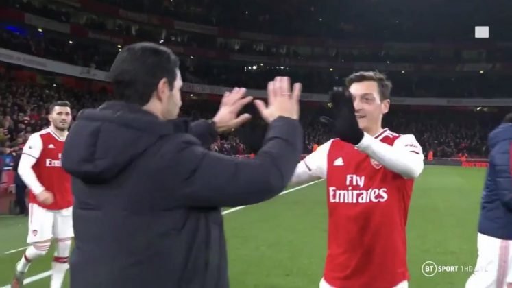 Mesut Ozil and Mikel Arteta