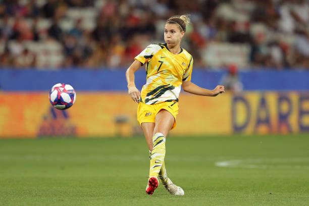 NICE, FRANCE - JUNE 22: Steph Catley of Australia in action during the 2019 FIFA Women's World Cup France Round Of 16 match between Norway and Australia at Stade de Nice on June 22, 2019 in Nice, France. (Photo by Richard Heathcote/Getty Images)