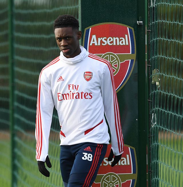 Folarin Balogun in training with Arsenal (Photo via Instagram)