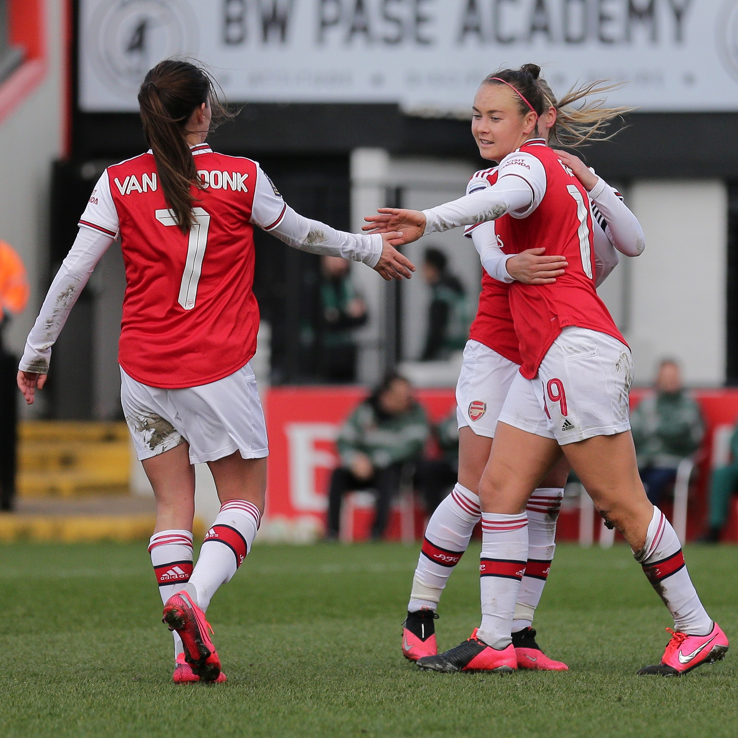 Caitlin Foord and Danielle van de Donk of Arsenal Women during the FA Cup match vs Lewes FC Women