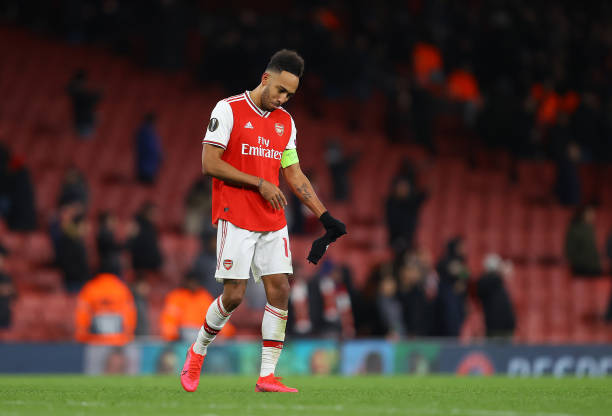 Pierre-Emerick Aubameyang of Arsenal FC looks dejected after defeat in the UEFA Europa League round of 32 second leg match between Arsenal FC and Olympiacos FC at Emirates Stadium on February 27, 2020 in London, United Kingdom.