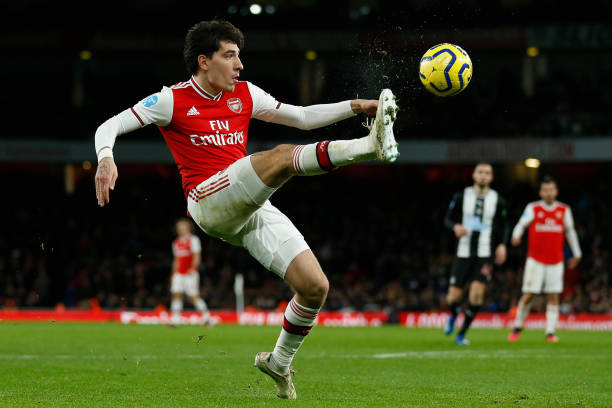 Arsenal's Spanish defender Hector Bellerin controls the ball during the English Premier League football match between Arsenal and Newcastle United at the Emirates Stadium in London on February 16, 2020.