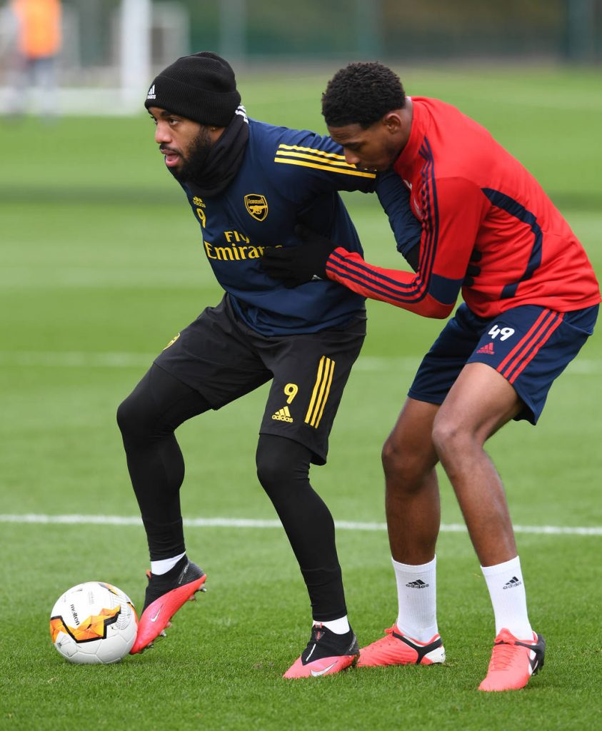 ST ALBANS, ENGLAND - FEBRUARY 26: Zech Medley of Arsenal during the Arsenal 1st Team Training Session at London Colney on February 26, 2020, in St Albans, England. (Photo by David Price/Arsenal FC via Getty Images)