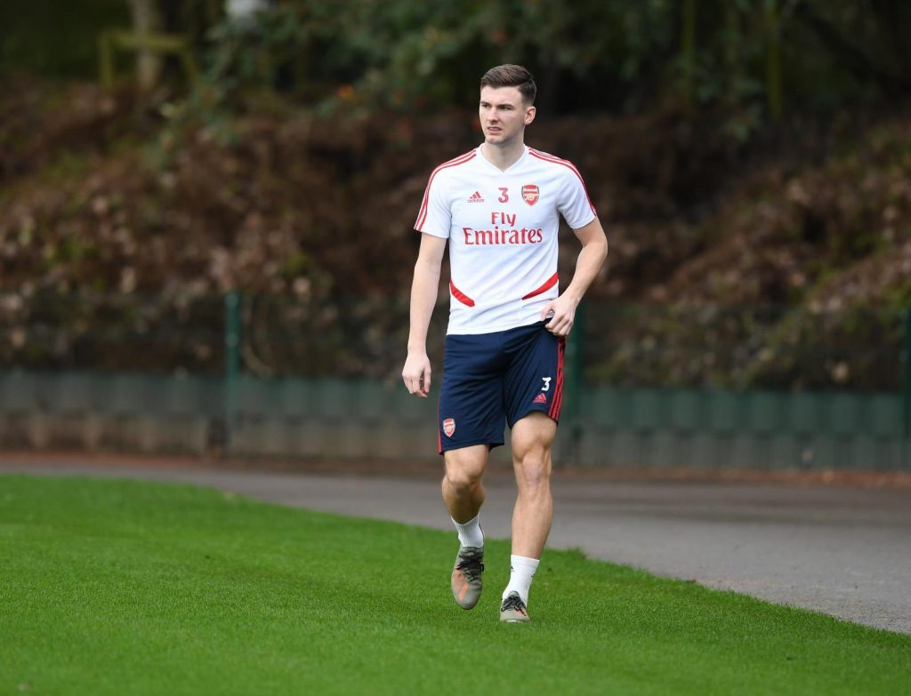 Kieran Tierney back in training with Arsenal (Photo via Twitter)