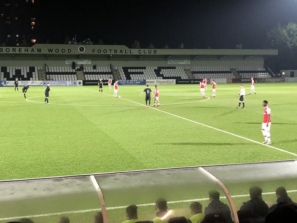 Arsenal u18s prepare to kick off their FA Youth Cup match against Brighton