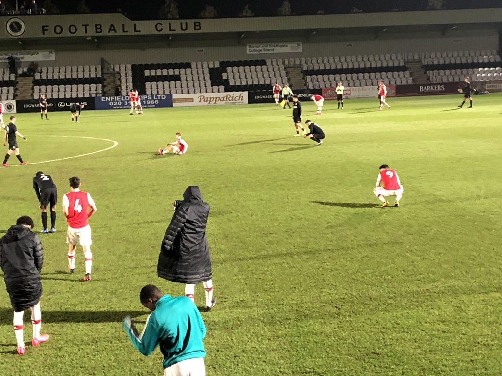 An exhausted Arsenal u18 side after their FA Youth Cup win over Brighton