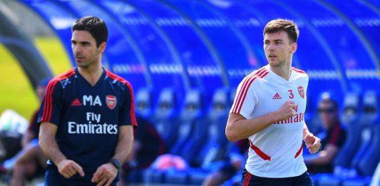 Kieran Tierney in training in Dubai (Photo via Twitter / Arsenal)