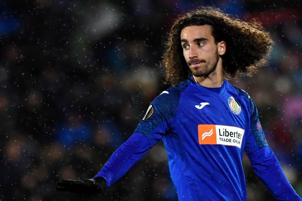 Getafe's Spanish defender Marc Cucurella gestures during the UEFA Europa League Group C football match between Getafe CF and FC Krasnodar at the Coliseum Alfonso Perez stadium in Getafe, on December 12, 2019. (Photo by PIERRE-PHILIPPE MARCOU / AFP)