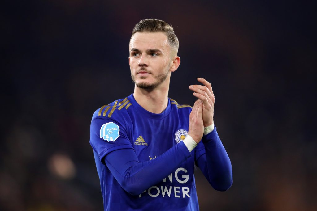 James Maddison of Leicester City shows his appreciation to the fans after the Premier League match between Wolverhampton Wanderers and Leicester City at Molineux on February 14, 2020 in Wolverhampton, United Kingdom.