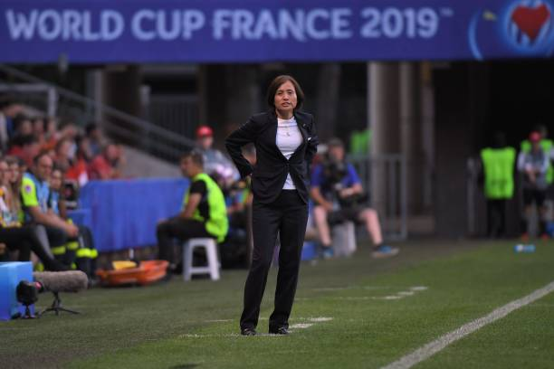 Japan's coach Asako Takakura during the France 2019 Women's World Cup round of sixteen football match between Netherlands and Japan, on June 25, 2019, at the Roazhon Park stadium in Rennes, north western France.