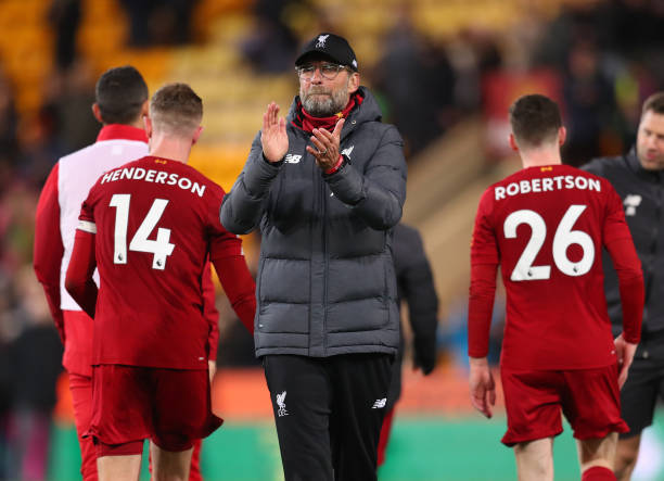 Jurgen Klopp, Manager of Liverpool applauds fans after the Premier League match between Norwich City and Liverpool FC at Carrow Road on February 15, 2020 in Norwich, United Kingdom.