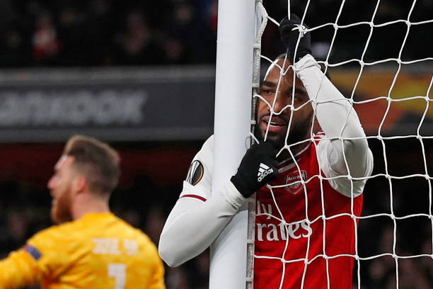Arsenal's French striker Alexandre Lacazette reacts after his goal is disallowed for offside during the UEFA Europa league round of 32 second leg football match between Arsenal and Olympiakos at the Emirates stadium in London on February 27, 2020.