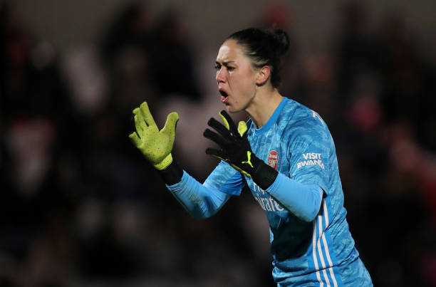 Manuela Zinsberger of Arsenal reacts during the FA Women's Continental League Cup Semi-Final match between Arsenal Women and Manchester City Women at Meadow Park on January 29, 2020 in Borehamwood, England.