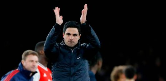 Arsenal's Spanish head coach Mikel Arteta applauds at the end of the English Premier League football match between Arsenal and Everton at the Emirates Stadium in London on February 23, 2020.