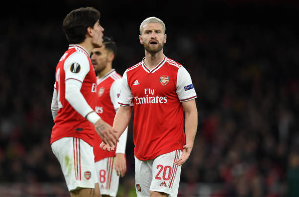 Shkodran Mustafi of Arsenal FC reacts during the UEFA Europa League round of 32 second leg match between Arsenal FC and Olympiacos FC at Emirates Stadium on February 27, 2020 in London, United Kingdom.