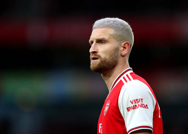 Shkodran Mustafi of Arsenal looks on during the Premier League match between Arsenal FC and Everton FC at Emirates Stadium on February 23, 2020 in London, United Kingdom.