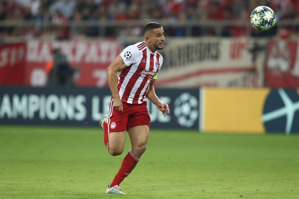 PIRAEUS, GREECE - OCTOBER 22: Omar Elabdellaoui of Olympiacos FC runs with the ball during the UEFA Champions League group B match between Olympiacos FC and Bayern Muenchen at Karaiskakis Stadium on October 22, 2019, in Piraeus, Greece. (Photo by Alexander Hassenstein/Bongarts/Getty Images)