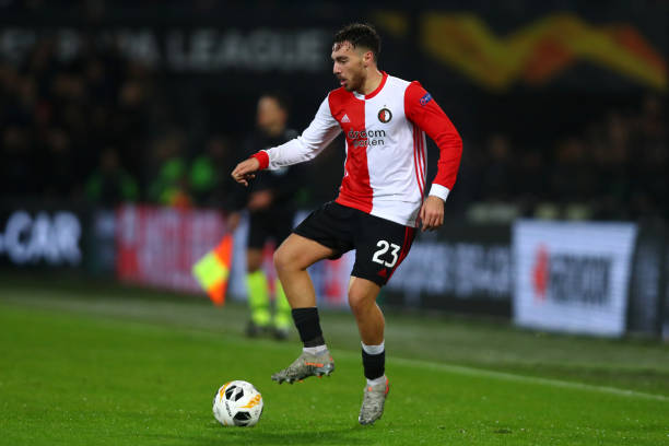 Orkun Kokcu of Feyenoord in action during the UEFA Europa League group G match between Feyenoord and Rangers FC at De Kuip on November 28, 2019 in Rotterdam, Netherlands.