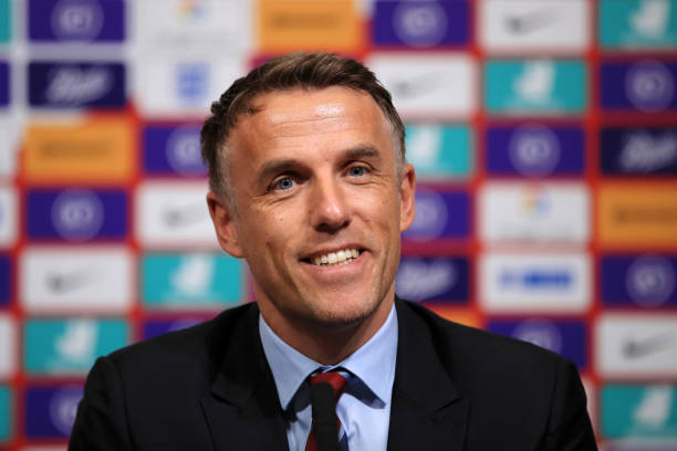 Phil Neville, Manager of England Women reacts during a press conference for an England Women SheBelieves Cup Squad Announcement at Wembley Stadium on February 18, 2020 in London, England.