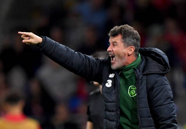 Republic of Ireland Assistant Manager, Roy Keane, gives his team instructions during the UEFA Nations League B group four match between Wales and Republic of Ireland at Cardiff City Stadium on September 6, 2018 in Cardiff, United Kingdom.