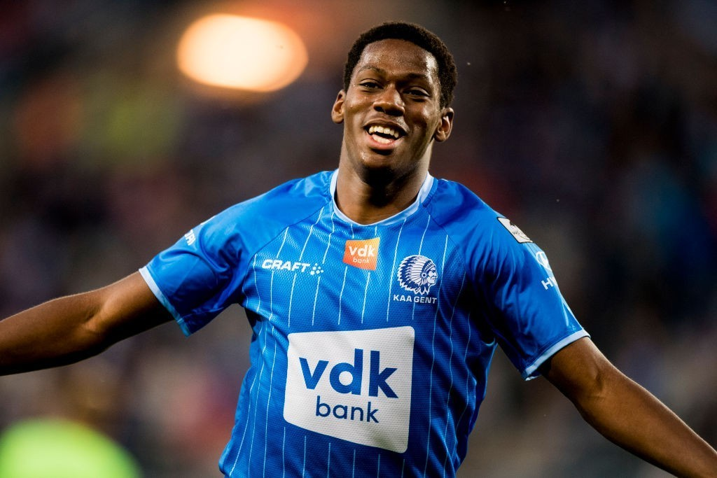Gent's Jonathan David celebrates after scoring during a soccer match between KAA Gent and KV Oostende, Sunday 18 August 2019 in Gent, on the fourth day of the 'Jupiler Pro League' Belgian soccer championship season 2019-2020.(Photo by JASPER JACOBS/AFP via Getty Images)