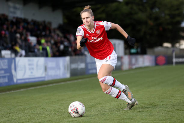 Vivianne Miedema of Arsenal runs with the ball during the Barclays FA Women's Super League match between Arsenal and Bristol City at Meadow Park on December 01, 2019 in Borehamwood, United Kingdom.
