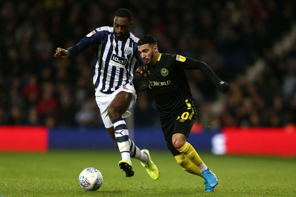 WEST BROMWICH, ENGLAND - DECEMBER 21: Said Benrahma of Brentford battles for possession with Semi Ajayi of West Bromwich Albion during the Sky Bet Championship match between West Bromwich Albion and Brentford at The Hawthorns on December 21, 2019, in West Bromwich, England. (Photo by Lewis Storey/Getty Images)